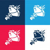 Bouquet blue and red four color minimal icon set
