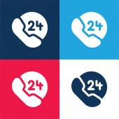 24 óra kék és piros négy szín minimális ikon készlet