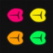 Biftek Steak čtyři barvy zářící neonový vektor