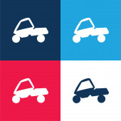 Adventure Sport On A Car blue and red four color minimum icon set