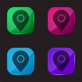 Big Map Locator négy színű üveg gomb ikon