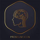 Logo nebo ikona prémie zlaté čáry mozku