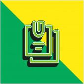 Angehängte Dateien Grünes und gelbes modernes 3D-Vektorsymbol-Logo