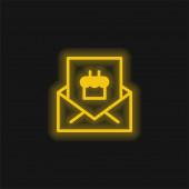 Születésnap Meghívó sárga izzó neon ikon
