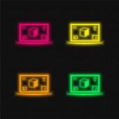 3D tisk obrázku na monitoru čtyři barvy zářící neonový vektor ikona