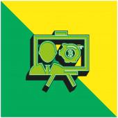 Bitcoin prezentace Zelená a žlutá moderní 3D vektorové logo ikony