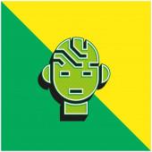 Agy Zöld és sárga modern 3D vektor ikon logó