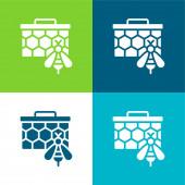Bienen Flache vier Farben minimales Symbol-Set