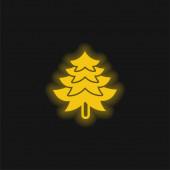 Big Pine Tree Shape gelb leuchtende Neon-Symbol