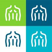 Vissza Lapos négy szín minimális ikon készlet