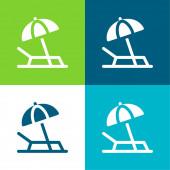 Strand Flat négy szín minimális ikon készlet