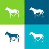 Fekete Sétáló ló farok le Lapos négy szín minimális ikon készlet