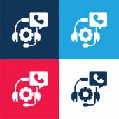 Beratung blau und rot vier Farben minimalen Symbolsatz