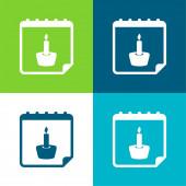 Připomenutí narození Flat čtyři barvy minimální ikona nastavena