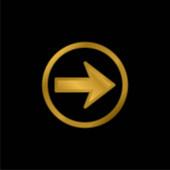 Šipka doprava Navigace Pozlacená kovová ikona nebo vektor loga