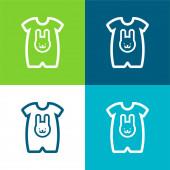 Baba ruha egy nyúl fej körvonalú Lapos négy szín minimális ikon készlet