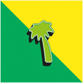 Black Palm Tree Green and yellow modern 3d vector icon logo