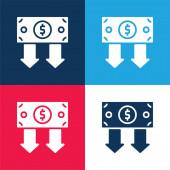 Bond modrá a červená čtyři barvy minimální ikona nastavena