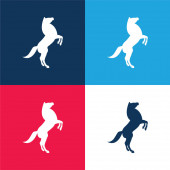 Big Horse Stand Up Pose On Back Paws blue and red four color minimal icon set