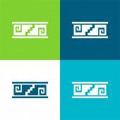 Handwerkliche Mosaik von Mexiko Flache vier Farben minimales Symbol-Set