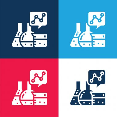 Analytics blue and red four color minimal icon set stock vector