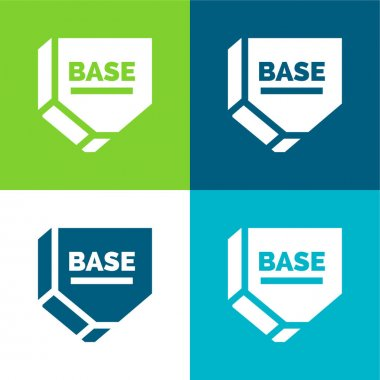 Base Flat four color minimal icon set stock vector
