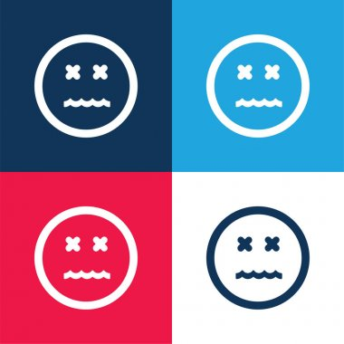 Annulled Emoticon Square Face blue and red four color minimal icon set
