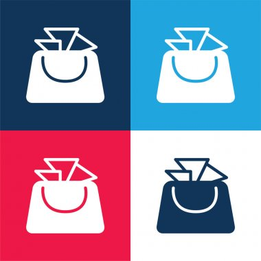 Bag For Ladies blue and red four color minimal icon set