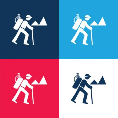 Backpacker Hiking blue and red four color minimal icon set stock vector