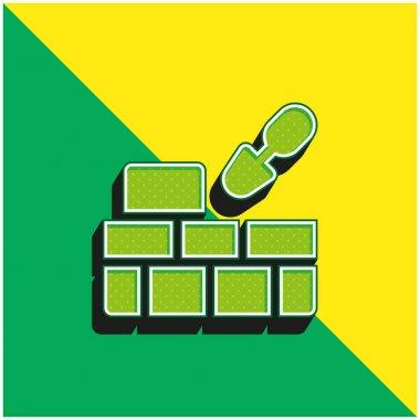 Brick Wall Green and yellow modern 3d vector icon logo stock vector
