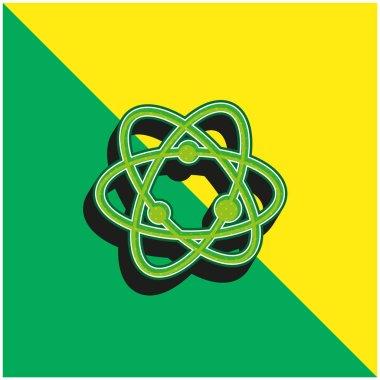 Atom Green and yellow modern 3d vector icon logo stock vector