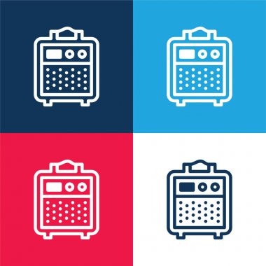 Amplifier blue and red four color minimal icon set stock vector