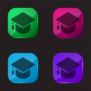 Big Mortarboard four color glass button icon stock vector