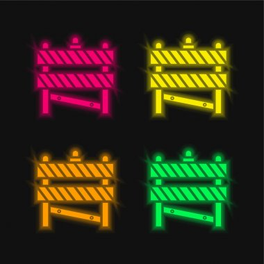 Barrier four color glowing neon vector icon stock vector