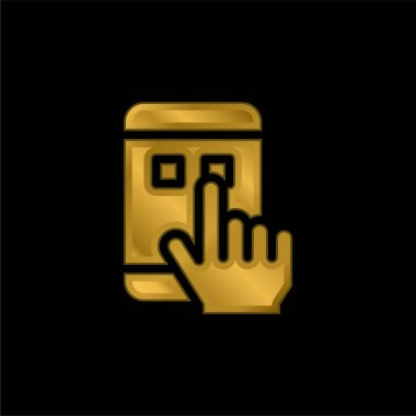 App gold plated metalic icon or logo vector stock vector