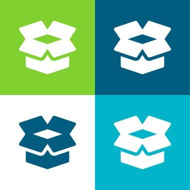 Box Flat four color minimal icon set stock vector