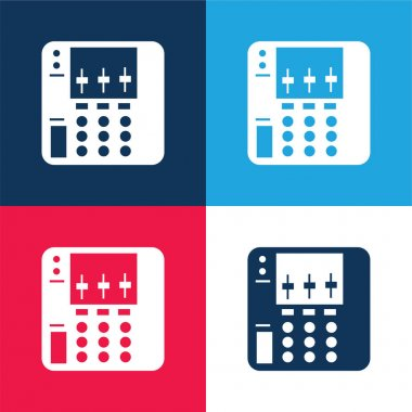 Audio Equalizer Device blue and red four color minimal icon set stock vector