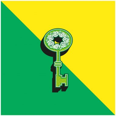 Antique Key Shape With Star Hole In The Middle Of Spirals In An Oval Green and yellow modern 3d vector icon logo stock vector