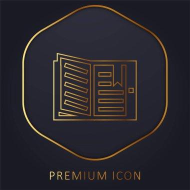 Book golden line premium logo or icon stock vector
