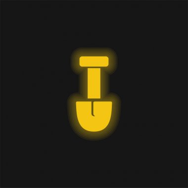 Big Shovel yellow glowing neon icon stock vector