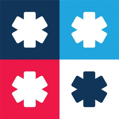 Asterisk blue and red four color minimal icon set stock vector