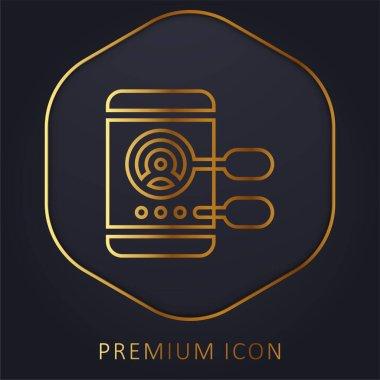 App Development golden line premium logo or icon stock vector
