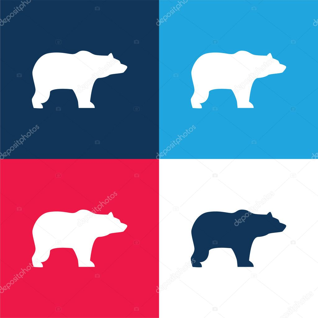 Bear Facing Right blue and red four color minimal icon set stock vector