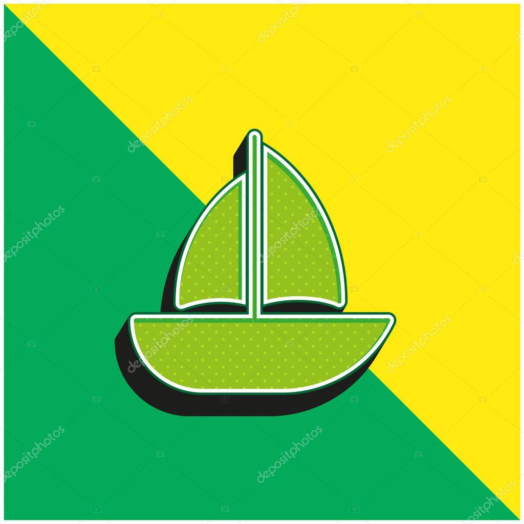Barca Logo icona vettoriale 3D moderna verde e gialla