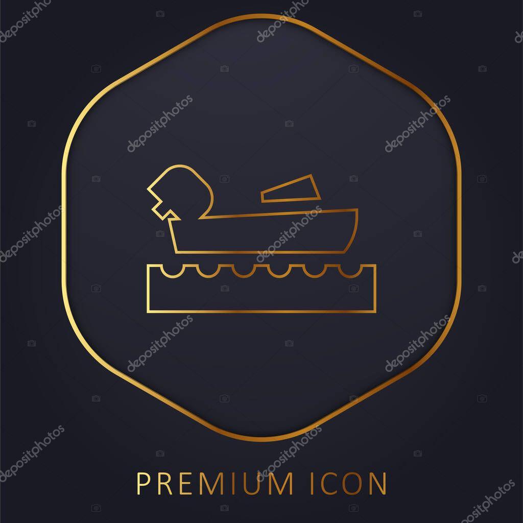 Canottaggio linea dorata logo premium o icona