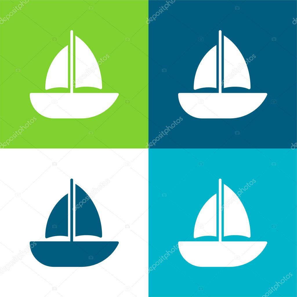 Barca piatto quattro colori set icona minima