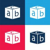 Blok s písmeny modré a červené čtyři barvy minimální ikona nastavena