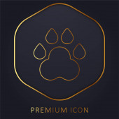 Animal Track golden line premium logo or icon
