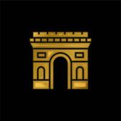 Arc De Triomphe pozlacená kovová ikona nebo vektor loga