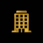 Nagy épület aranyozott fém ikon vagy logó vektor